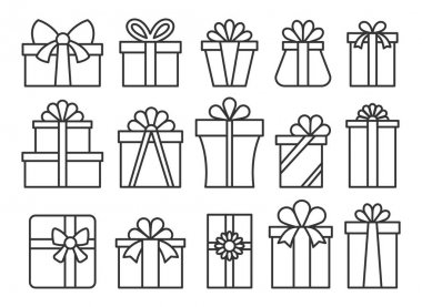 Gift box line icon set. Simple outline giftbox with ribbon bow pictogram pack. Happy birthday, merry christmas, new year present package symbol. Holiday celebration Valentine day surprise parcel sign icon