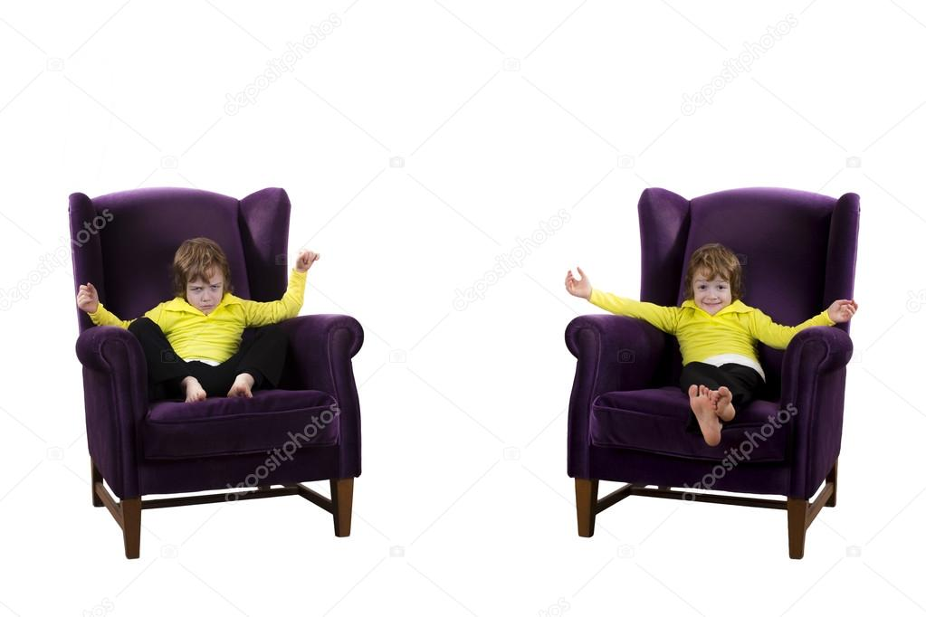 Happy, Angry Red Hair Boy Sitting On The Two Purple Armchairs U2014 Stock Photo