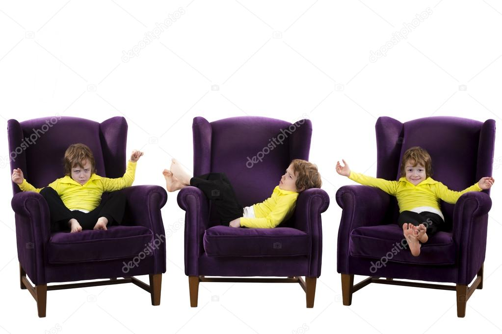 Bored, Happy, Angry Red Hair Boy Sitting On The Three Purple Armchairs U2014  Photo By Cnkyphotography