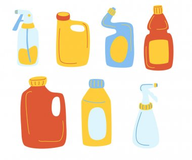 Detergents bottles vector cartoon set. Cleaning products cleaning supplies for home, household. Plastic bottles different shapes template for toilet bathroom cleaning. All elements are isolated icon
