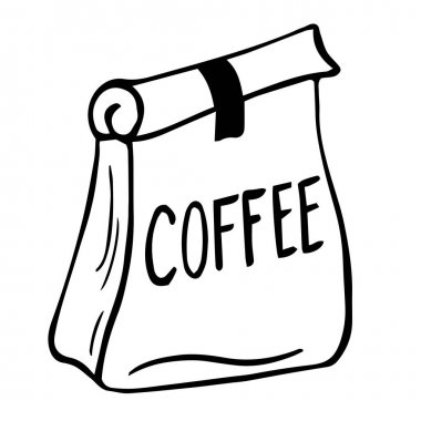 Paper bag full of coffee, linear illustration of craft coffee packaging. Coffee paper bag, sack line icon. Trendy flat outline ink style, good as icon, logo for coffee shop, hand drawn artwork. icon
