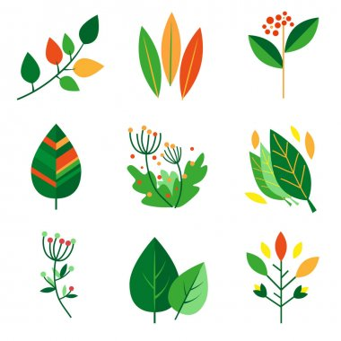 Vector set different leaves icons icon