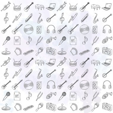 Set of musical instruments icons.