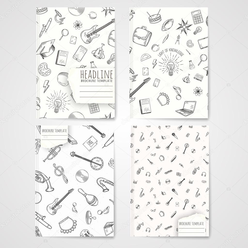 Notebook Template With Hand Drawn Music Pattern Stock Vector