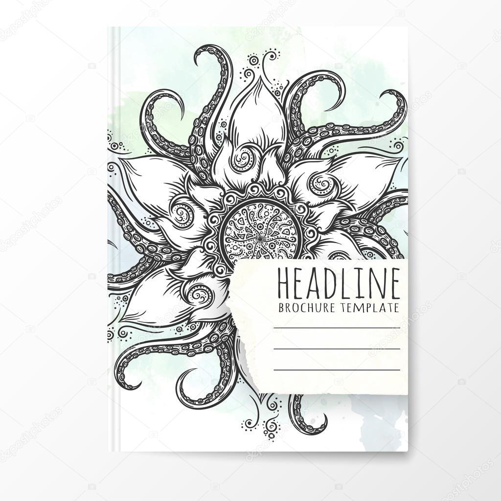 Notebook-Vorlage mit hand gezeichneten mandala — Stockvektor ...