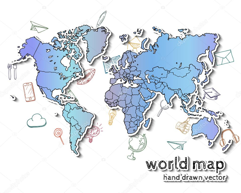 Hand drawn realistic world map. — Stock Vector © awesomedwarf #109149950