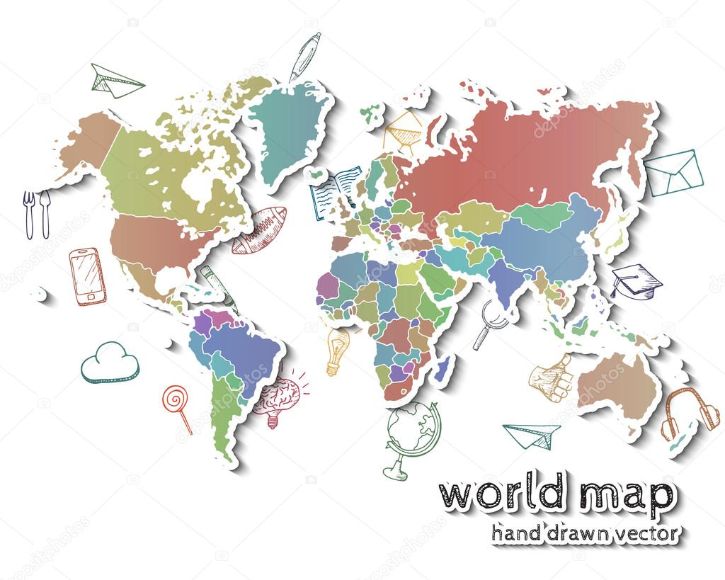 Hand drawn realistic world map stock vector awesomedwarf 87525324 hand drawn realistic world map stock vector gumiabroncs Images