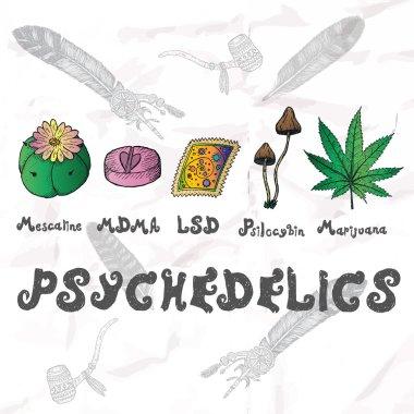 Psychedelics set. Hand drawn elements.
