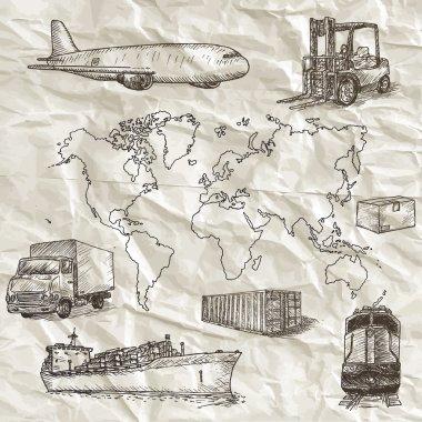 Logistics hand drawn isolated elements.