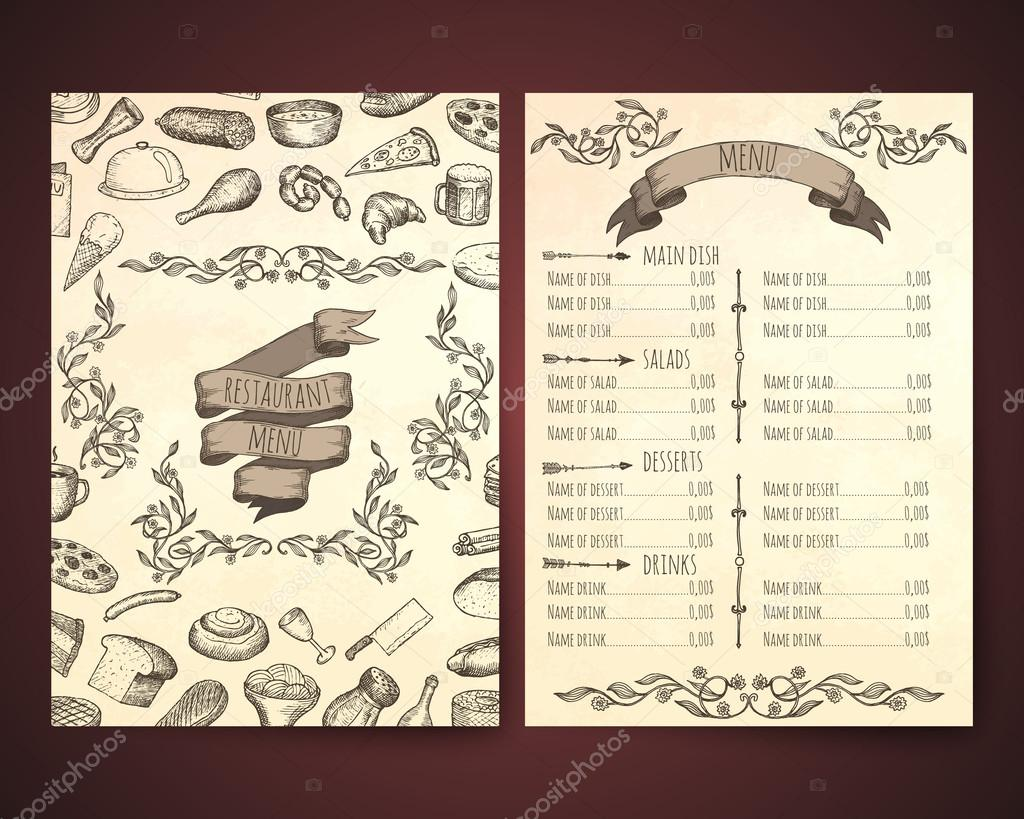 Restaurant Menu Schablonen — Stockvektor © awesomedwarf #96953840