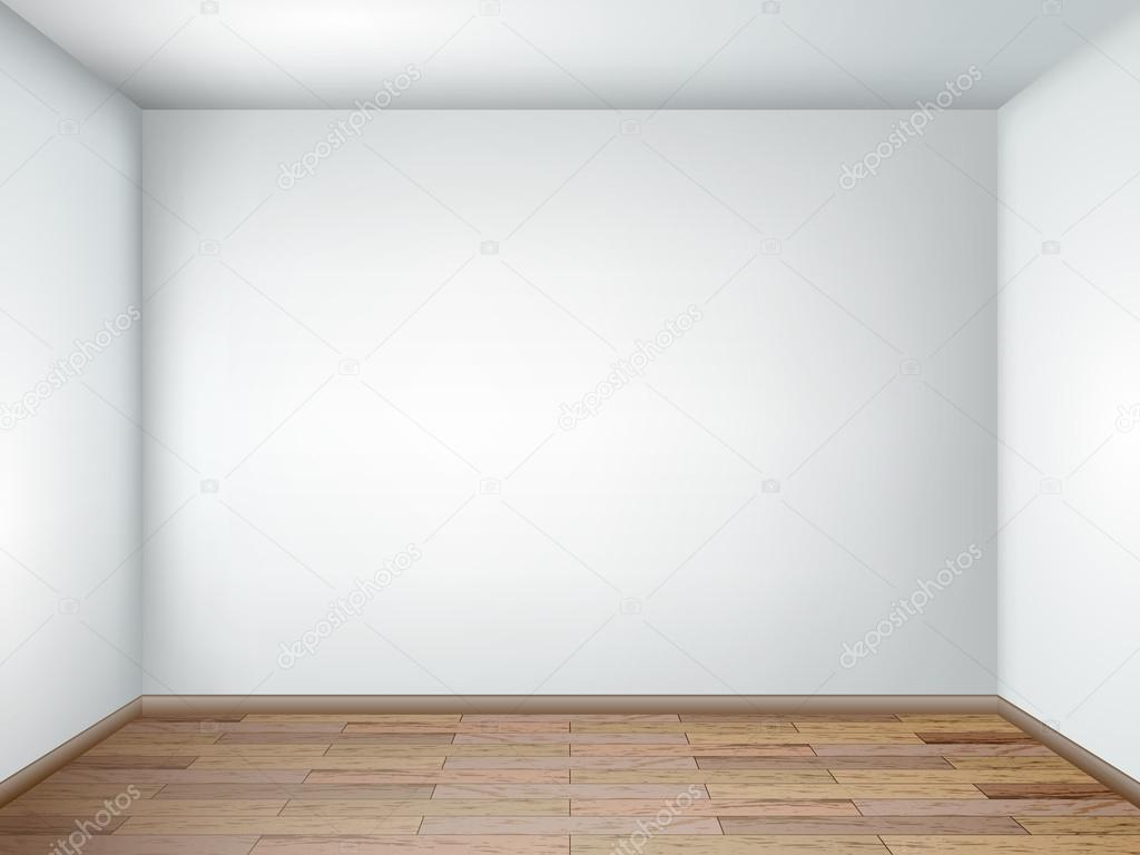 Interior With Empty Room With White Walls And Wooden Floor