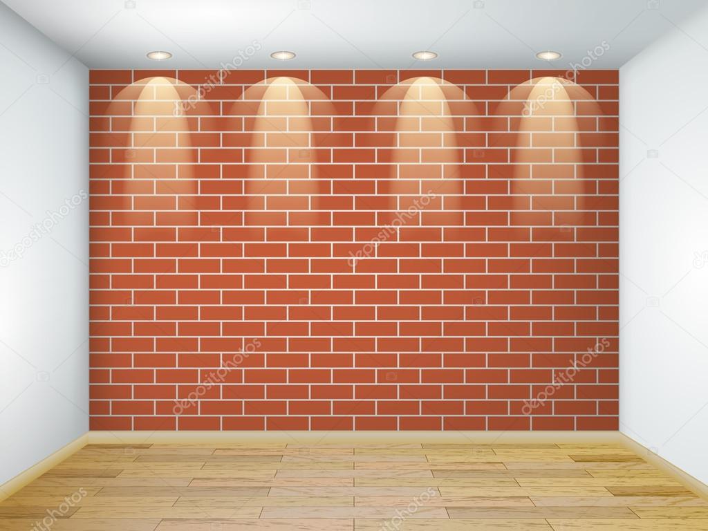 Cuarto de madera y ladrillos interior con cuarto blanco vac o con pared de ladrillo rojo y - Pared de ladrillo blanco ...