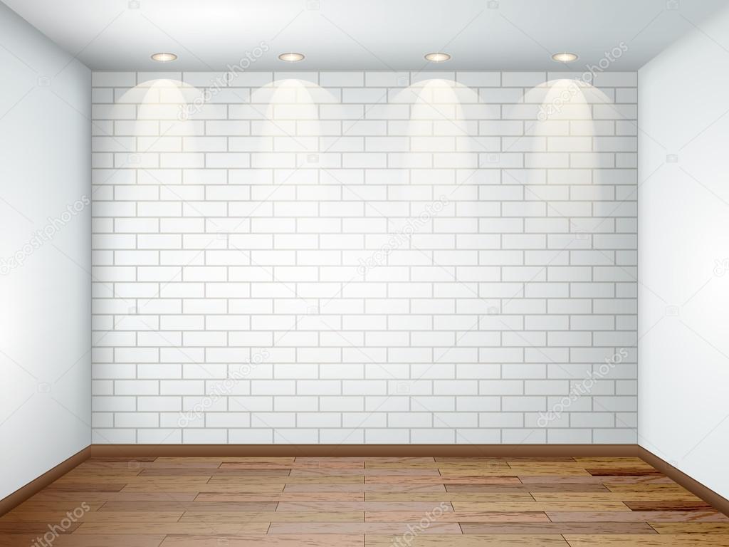 Intérieur avec vide chambre blanche avec mur de briques blanches et ...