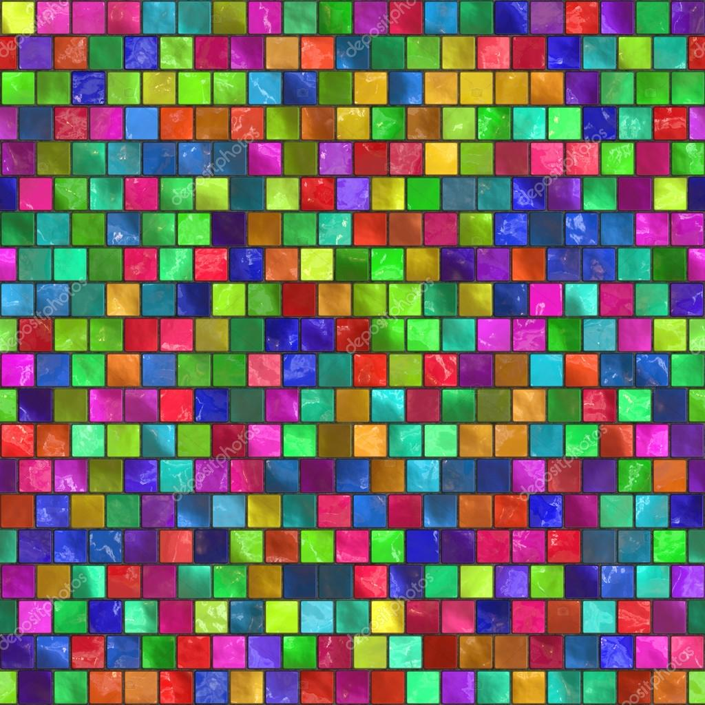 Seamless texture of colorful tile mosaic. Multicolor square back ...