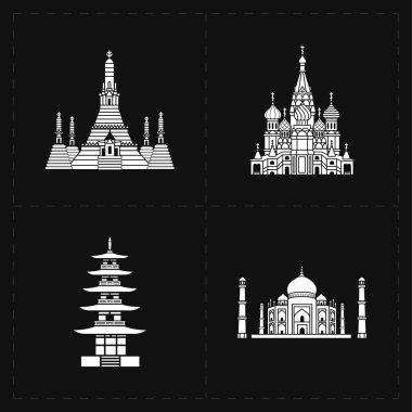 four flat landmark icons