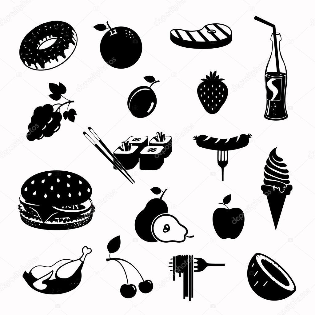 Vector food black icon set