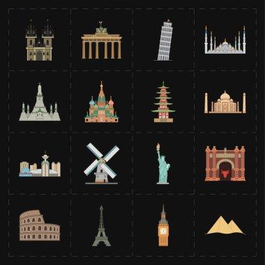 16 flat landmark icons