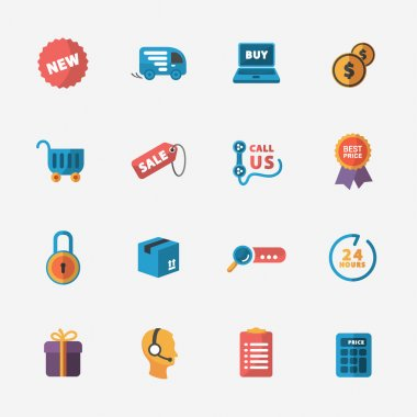 Modern colorful shop icons on black
