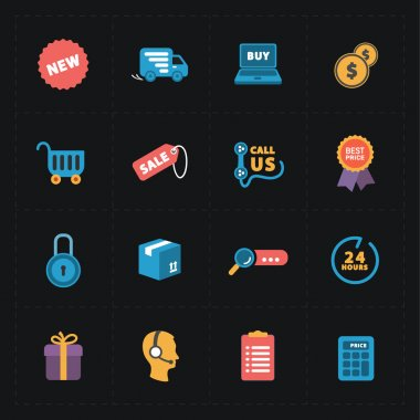 Flat colorful shop icons on black