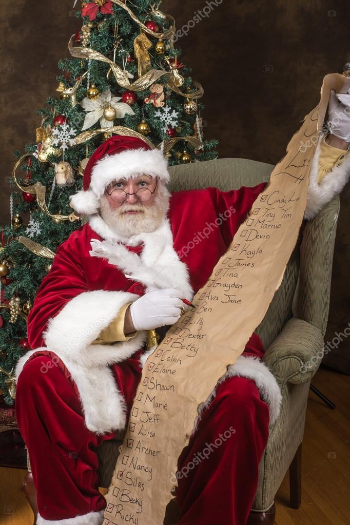 Santa Clause checking his list