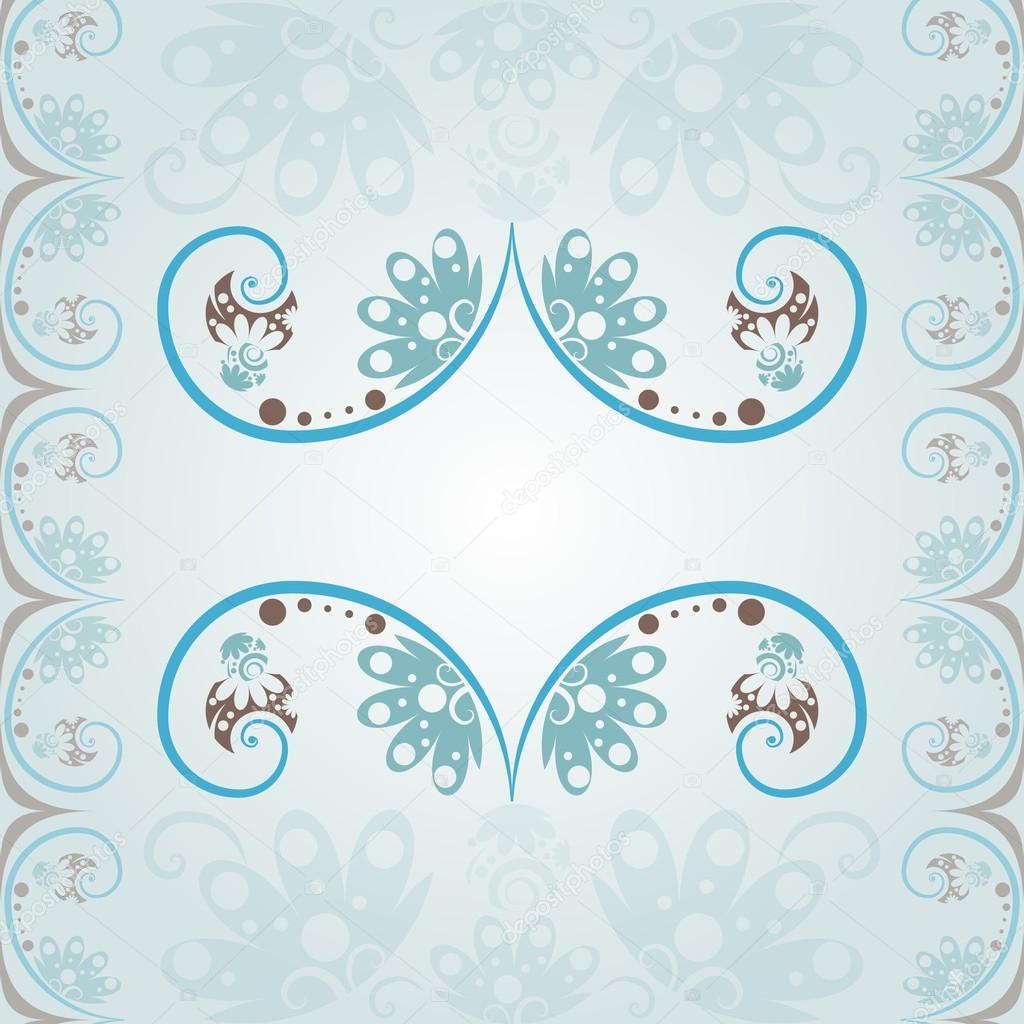 Blue Wedding Invitation Background In A Classic Style With Flora