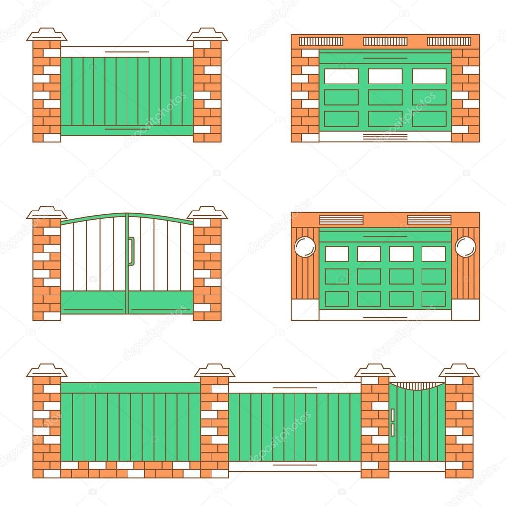 Tipos de puertas puertas de garaje conjunto de iconos de l nea delgada vector de stock - Tipos de puertas de garaje ...
