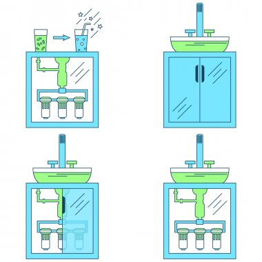 Water Purification, Filtration. Vector Thin Line Illustration