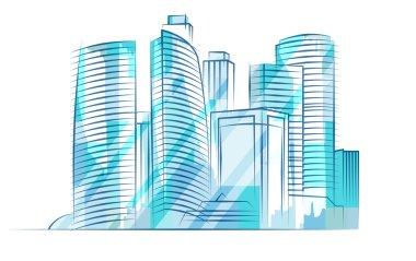 Blue shiny skyscrapers. City skyline.