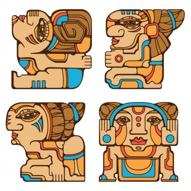 Aztec character in a four different poses. Decorative vector illustration