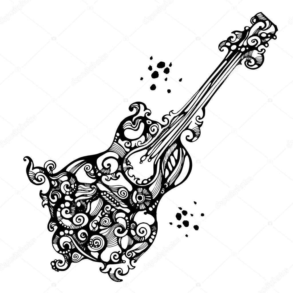 Guitare acoustique ornée dans le style de tatouage \u2014 Image vectorielle  86966624