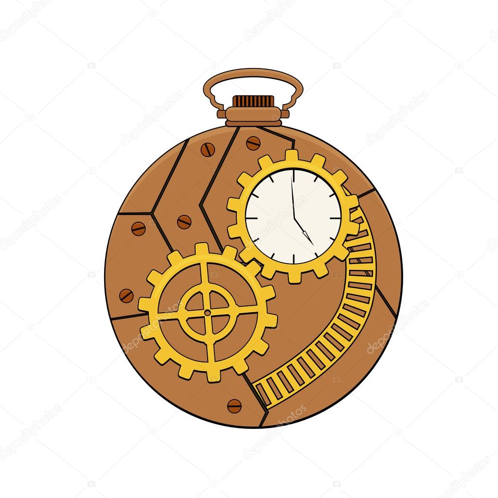 Steampunk copper pocket clock with metal gears in doodle