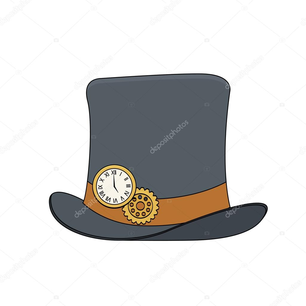 Steampunk style top hat with copper watch and gears in doodle style