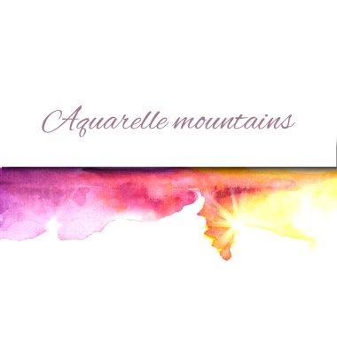 Aquarelle mountains yellow violet