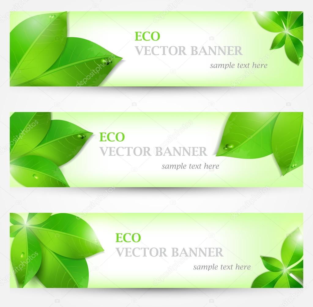 Set banner ecology illustration, colorful composition