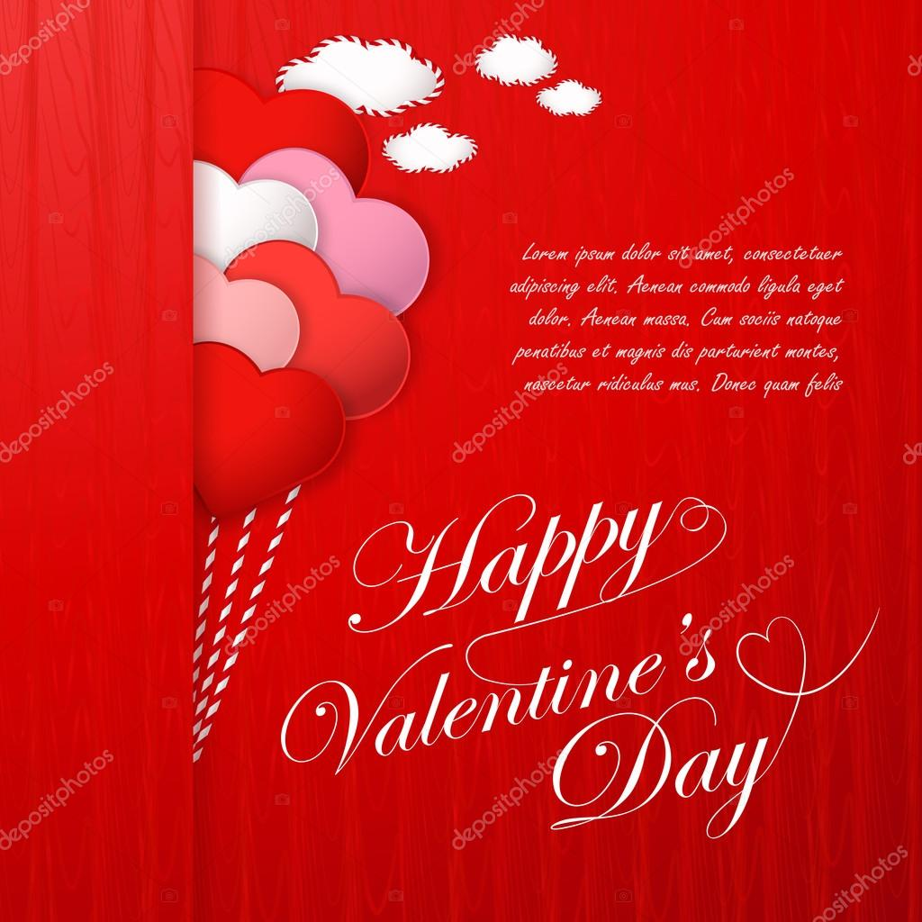 Tarjeta Del Dia De San Valentin Con Corazones Y Frases De Amor