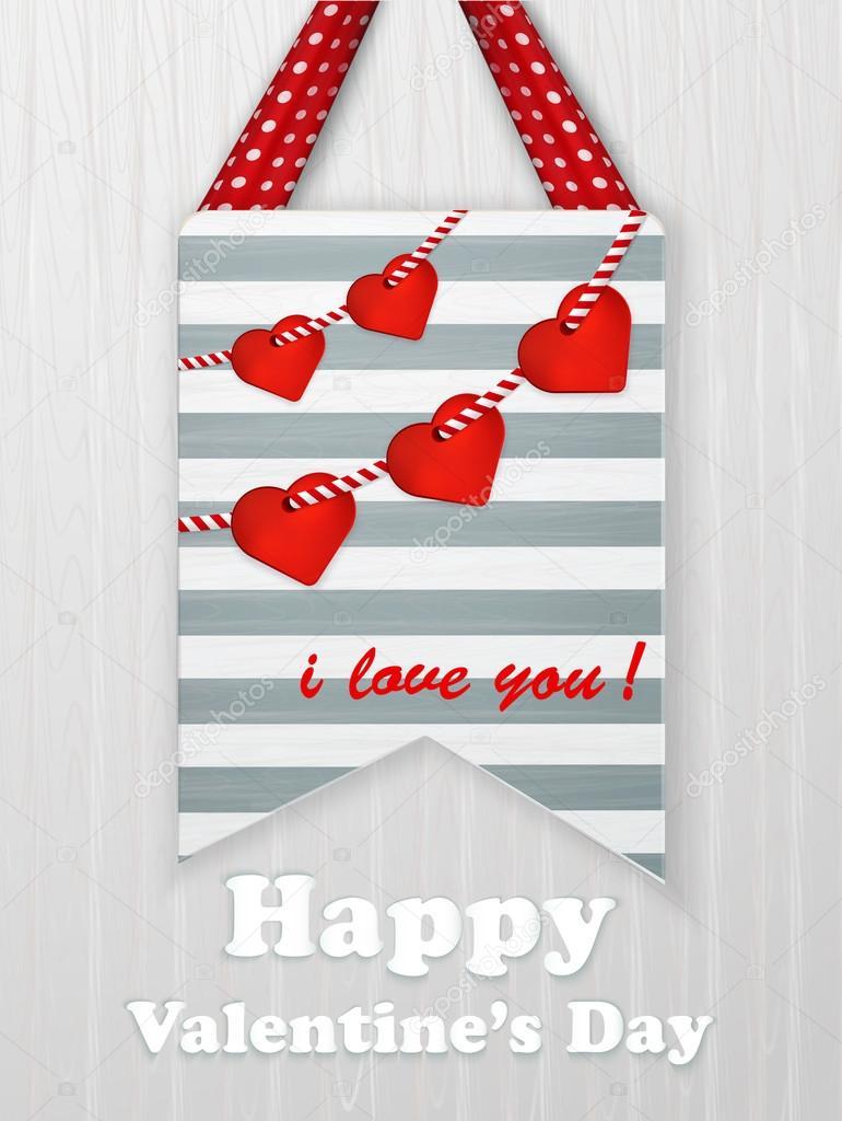 Tarjeta Del Día De San Valentín Con Corazones Y Frases De