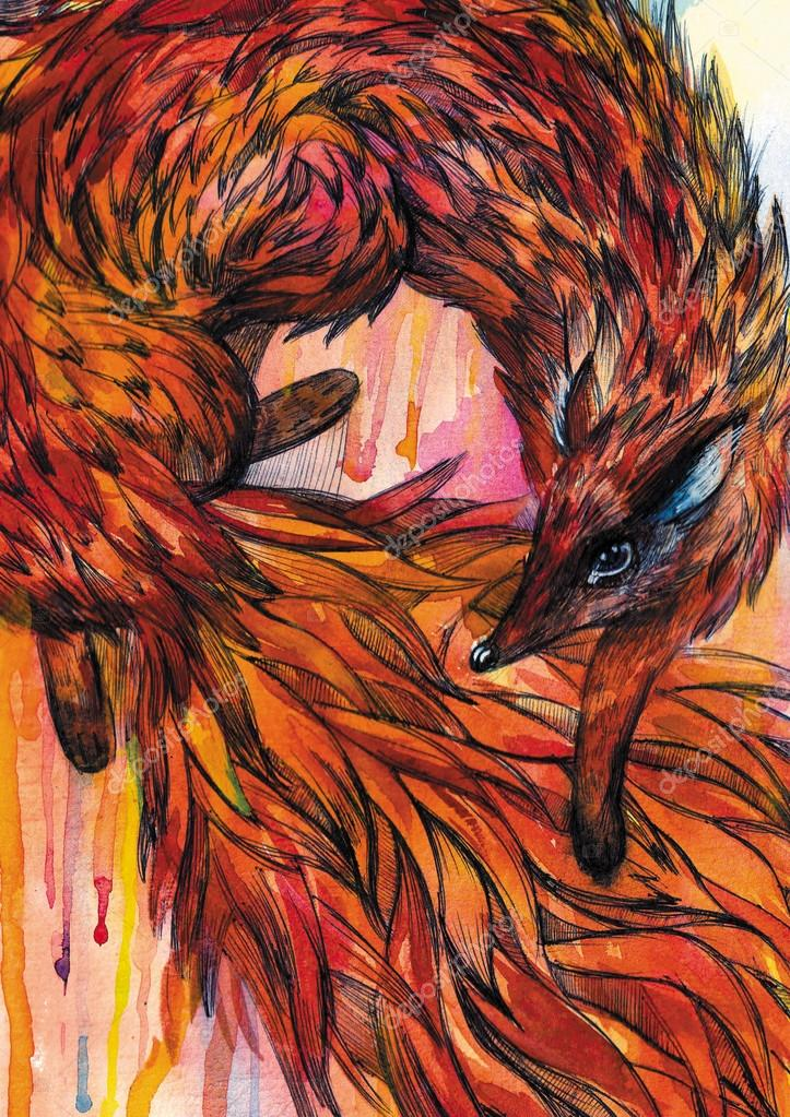 Hand drawn fox in Watercolor
