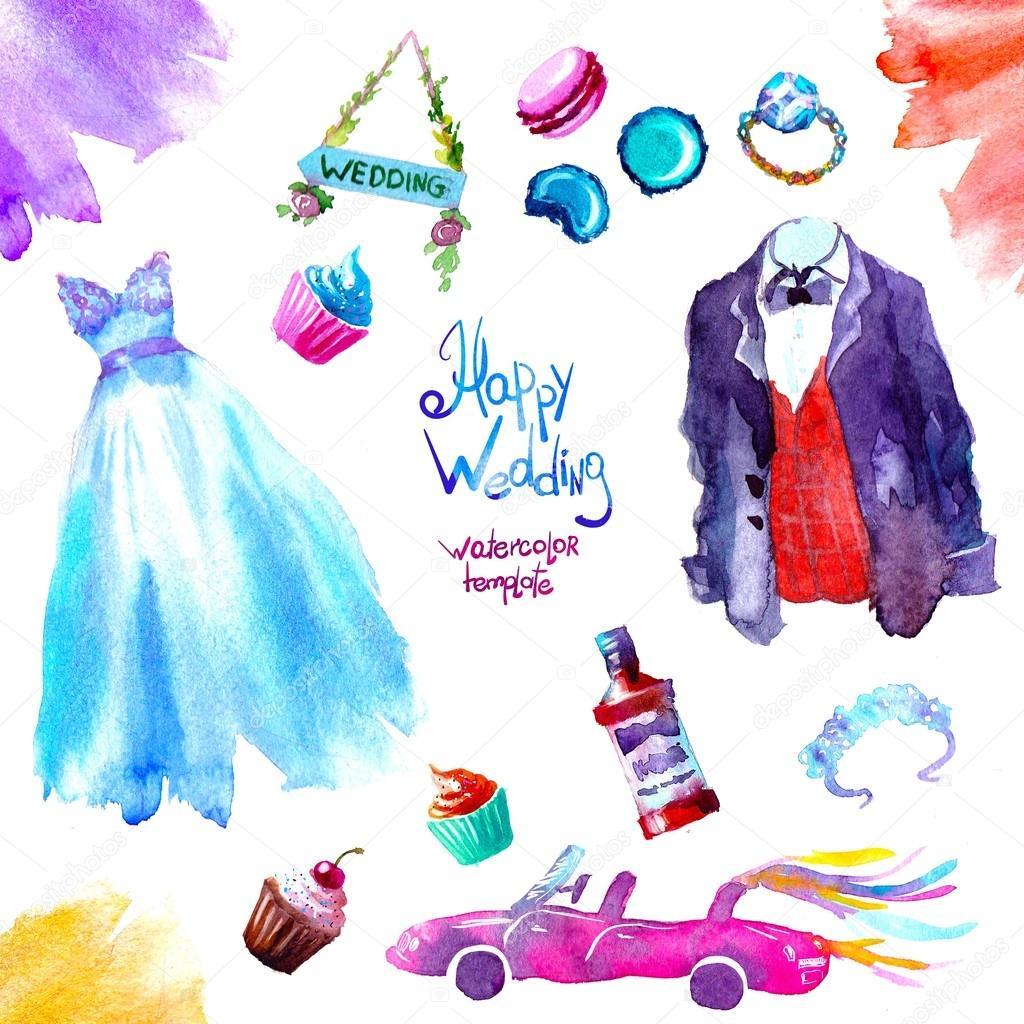 watercolor sweets wedding set