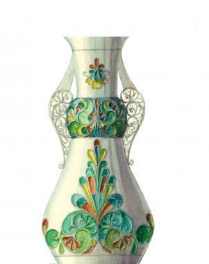 watercolor vase with geometric pattern