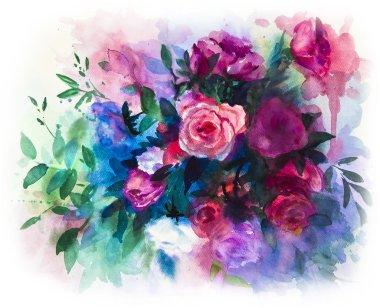 watercolors rose bouquet