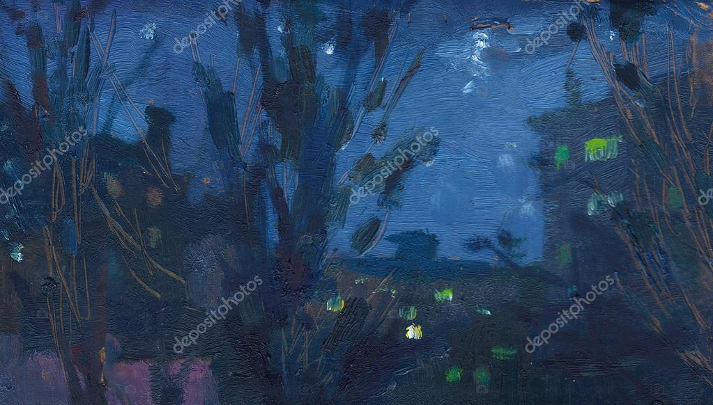 Oil painting landscape night