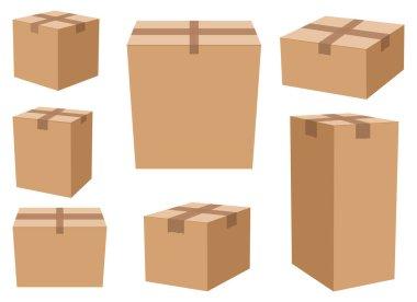 Carton box set vector design illustration isolated on white background icon