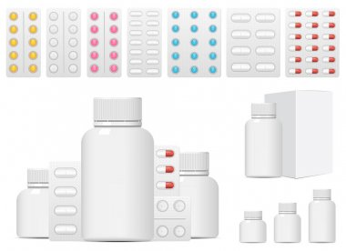 Set of medical pills vector design illustration isolated on white background icon