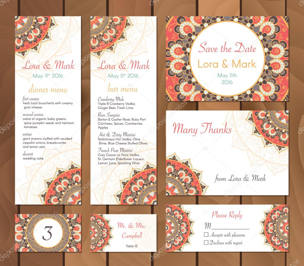 Collection of ethnic cardsmenu and wedding invitations with indian