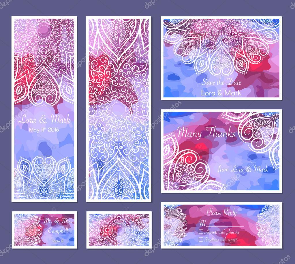 Conjunto de fondo acuarela con mandalas - ronda doodle elementos ...