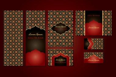Original business set or menu set with arabic geometric pattern with stars.