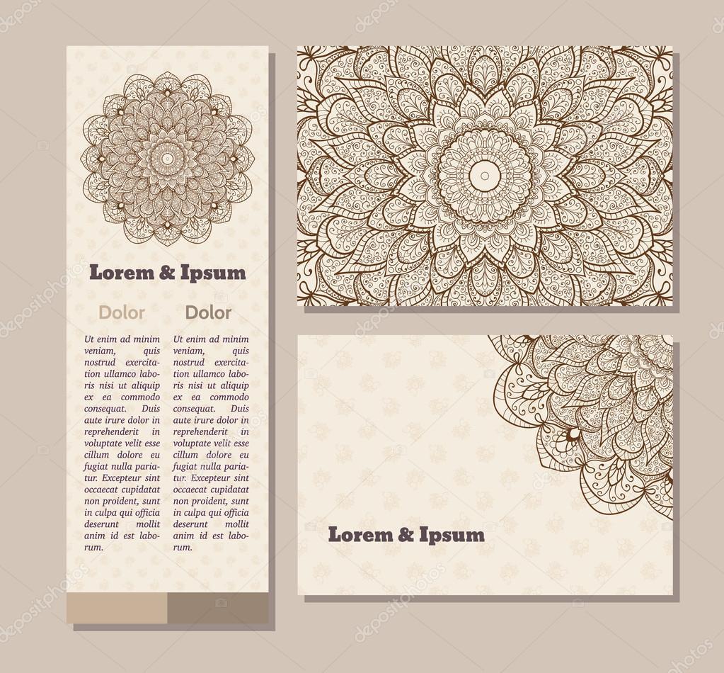 Colección de tarjetas étnicas, menú o invitaciones de boda con ...