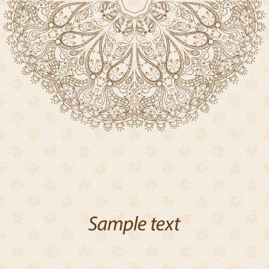 Card or invitation. Mandala. Vintage decorative elements. Hand drawn background. Islam, Arabic, Indian, ottoman motifs.