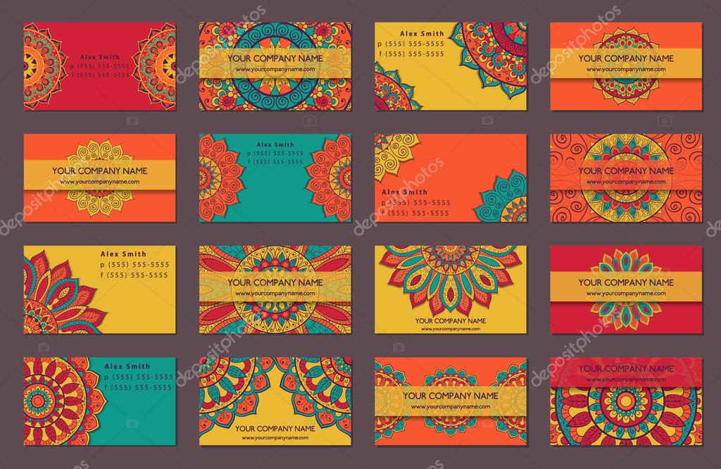 Business card collection. Indian style. — Stock Vector © dellaliner ...