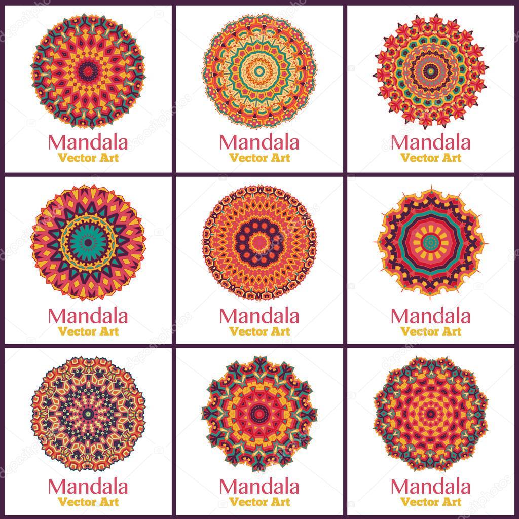 Sertie de mandalas de couleur chaude. — Image vectorielle dellaliner ...